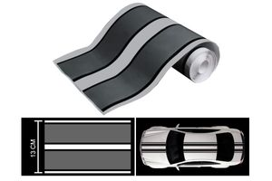 Speedwav Car Racing Stripe Vinyl Decal Graphic Sticker-Silver And Black