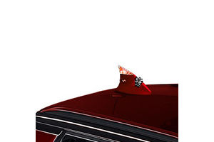 Speedwav Decorative Wind Powered LED light Fin Shaped Car Antenna-Red