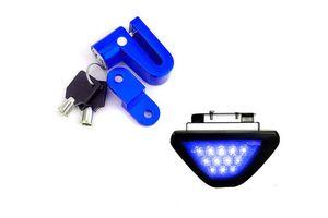 Speedwav Bike Disc Break Security Lock + 12 LED Brake Light-Blue