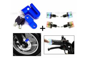 Speedwav Bike Disc Break Security Lock + LED Switchable Colors Lights Bike Handle Grip Edge