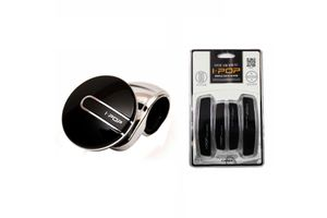 i-pop Platinum Car Steering Wheel Knob+Car Door Scratch Guard-BLACK
