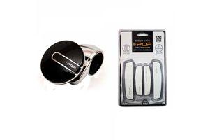 i-pop Platinum Car Steering Wheel Knob+Car Door Scratch Guard-WHITE