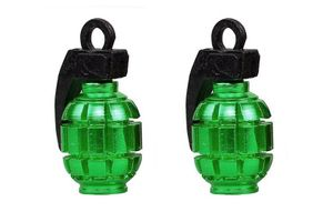 Speedwav Grenade Style Bike Tyre Valve Caps Set Of 2 - Green