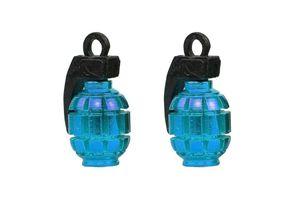 Speedwav Grenade Style Bike Tyre Valve Caps Set Of 2 - Blue