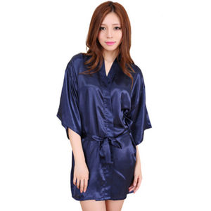 Crepe Navy Blue Short Style Robe With Free Thong e6dc01a6f