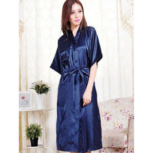 Crepe Royal Blue Robe With Free Thong Panty 1138395f0