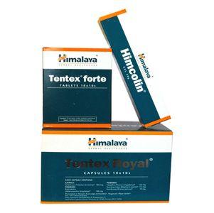 Himalaya's Set Of Tentex Forte 100 Tablets, Tentex Royal 100 Capsules and Himcolin Gel 4 Pcs of 30gm