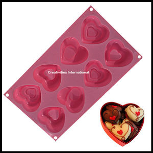 8 Cavity Heart Shape Cupcake Silicone Mold