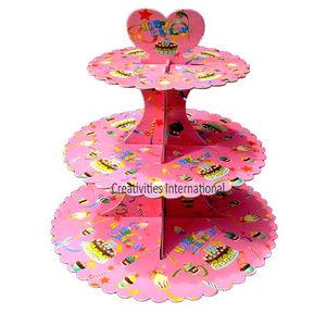 Pink Happy birthday Cardboard Cupcake Stand