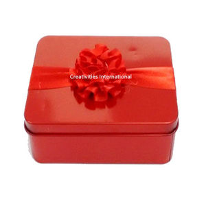 Red Square Metallic Box