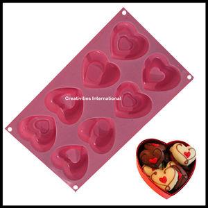 8 Cavity Heart shape mini brownie silicone mold