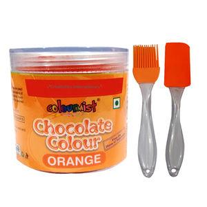 Combo - ColourMist Chocolate Powder Color Orange, Silicone Spatula & Brush