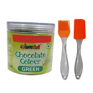 Combo - ColourMist Chocolate Powder Green,Silicone Spatula & Brush