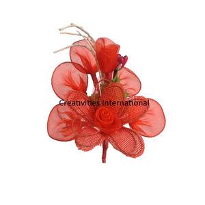 Red Blossom Jute Net Flower