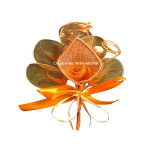 Orange Rose Jute Cone Net Flower