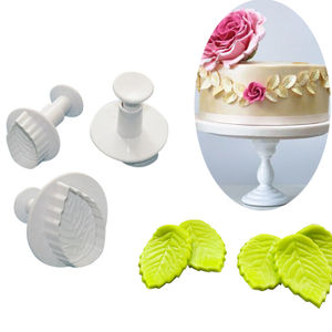 Veined Rose Big Leaf Plunger Cutter (Set of 3)