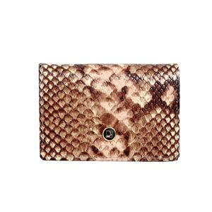 Da Milano Ca-0028 Beige/Brn Snk Leather Card Case