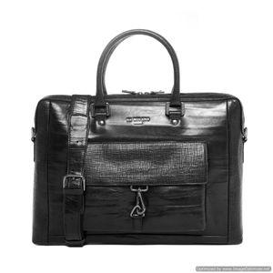 Da Milano Men's Cb-6256 Black Bamboo Computer Bag