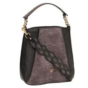Da Milano Black Grey Long Handle Bag