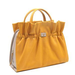 5975f711b0 ... Da Milano Yellow Grey Satchel Bag