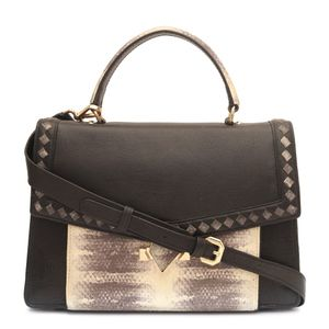 f00c231c69e8 Da Milano Black Grey Satchel Bag ...