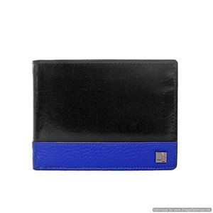 Da Milano Men's Mw-0862A Blk/Blu Leather Wallet