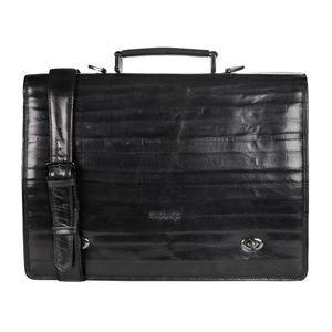 Da Milano Pf-1752C Black Bamboo Leather Portfolio