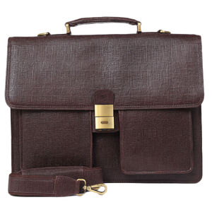 Da Milano Pf-1761 Brown Matrix Leather Portfolio