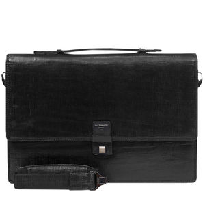 Da Milano Pf-1788A Black Matrix Leather Portfolio