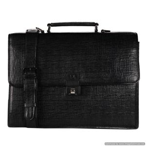 Da Milano Pf-1796A Black Matrix Leather Portfolio