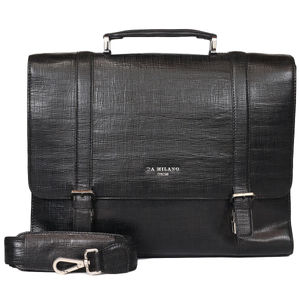 Da Milano Pf-2011 Black Matrix Leather Portfolio