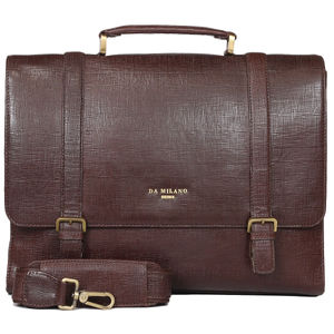 Da Milano Pf-2011 Brown Matrix Leather Portfolio