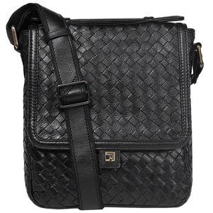 Da Milano Men's Sb-0014A Black Sling-Messenger Bag