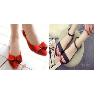Pkkart Women's Red Belly & Black Flats