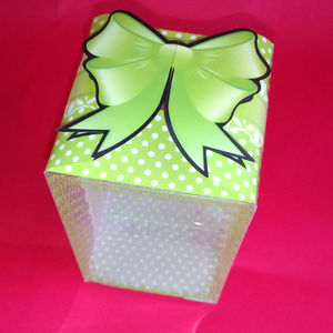 Green Polka Dot Box With Ribbon Bow