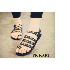 Pkkart Women's  BlACK Flats with studs