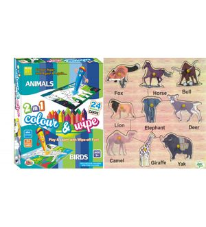 Dealbindaas Wooden Puzzle Animals And Ekta Colour N Wipe Animals And Birds Combo