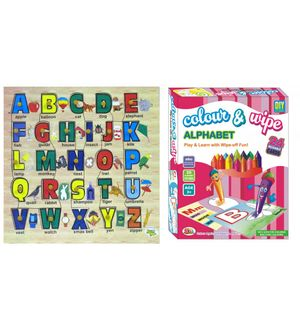 Dealbindaas Wooden Puzzle Alphabets And Ekta Colour N Wipe Alphabet Play N Learn Combo