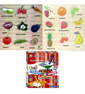 Dealbindaas Wooden Puzzle Ekta Colour N Wipe Fruits And Vegetables Combo 3Pcs