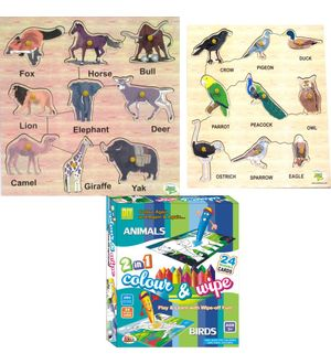 Dealbindaas Wooden Puzzle Ekta Colour N Wipe Birds And Animals Combo 3 Pcs