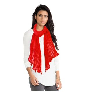 Sheetla Nylon Stole Scave Self Design Red Causal For Women