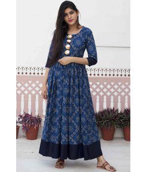 Blue Bandhani Maxi