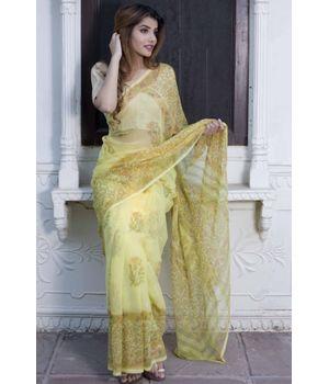 Banana Yellow Saree