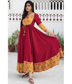 Maroon Patch Dress