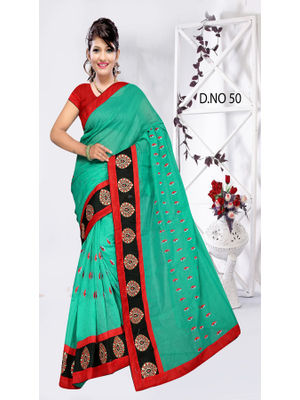 3848a776b3 GOKEDIA FANCY CHANDERI SAREE WITH EMBROIDERY