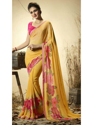 2019a245bd GOKEDIA DESIGNER PRINTED GEORGETTE SAREE WITH SMART LACE AND PLAIN BLOUSE