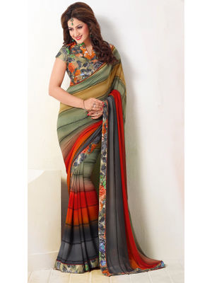 9f0573017f GOKEDIA DESIGNER MULTICOLOUR SAREE BLEND WITH PRINTED BLOUSE AND BORDER