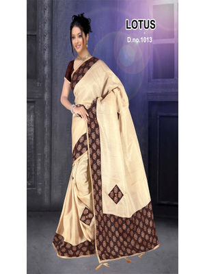 b2c205dc50 GOKEDIA KHADI SILK CREAM COLOUR SAREE WITH LOTUS PRINT