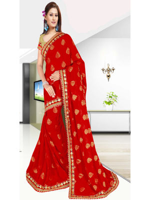 ee33af04e4 sold-out-image GOKEDIA RED COLOUR GOTTA BORDER SAREE WITH SELF GOLDEN  EMBROIDERY
