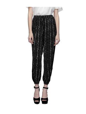 Women Black And White Print Pants